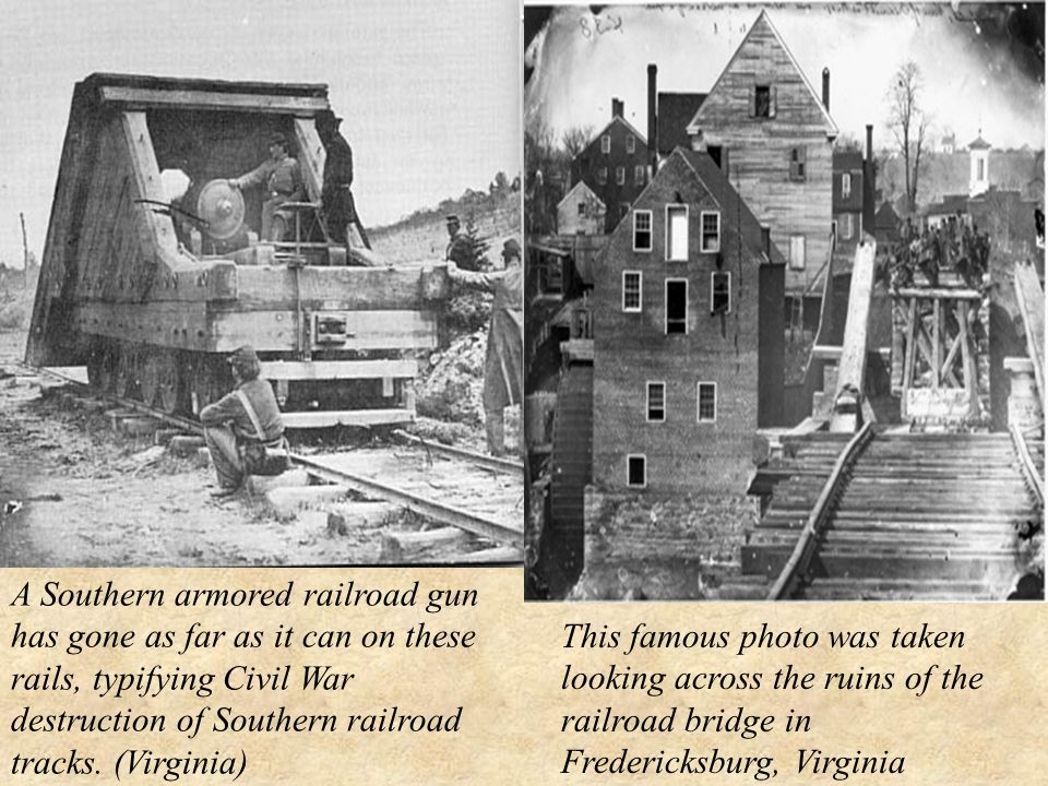 A Southern armored railroad gun has gone as far as it can on these rails, typifying Civil War destruction of Southern railroad tracks.