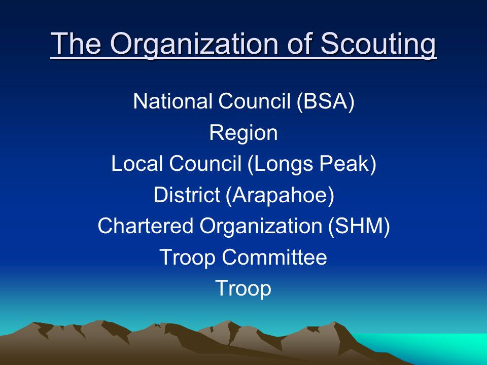 The Organization of Scouting National Council (BSA) Region Local Council (Longs Peak) District (Arapahoe) Chartered Organization (SHM) Troop Committee Troop