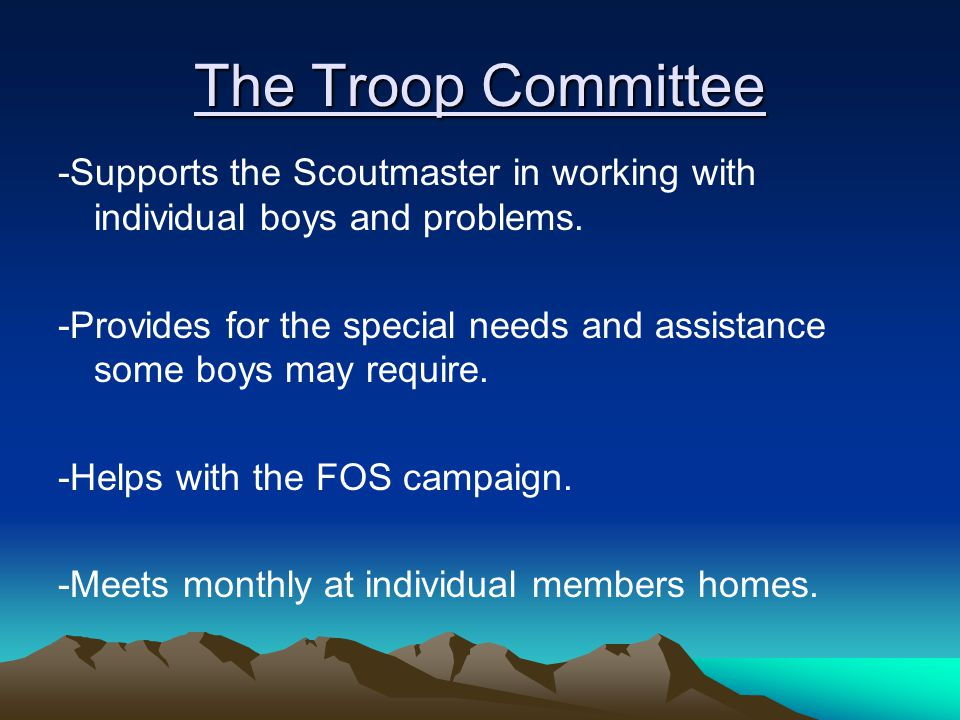 The Troop Committee -Supports the Scoutmaster in working with individual boys and problems.