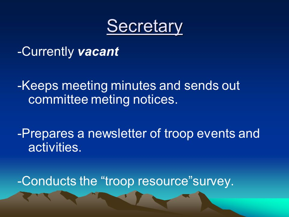 Secretary -Currently vacant -Keeps meeting minutes and sends out committee meting notices.