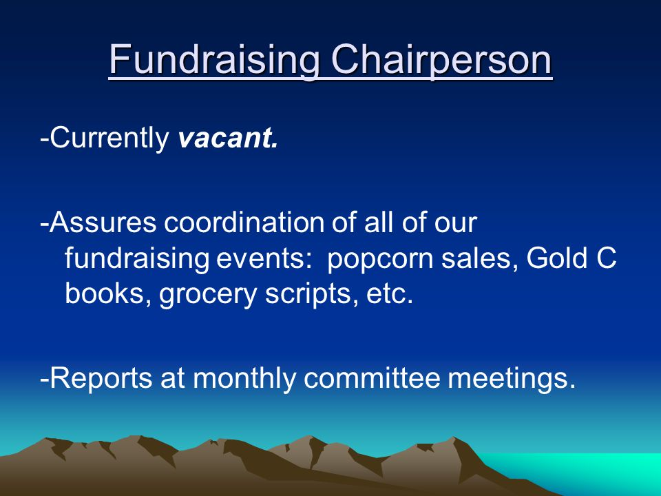 Fundraising Chairperson -Currently vacant.