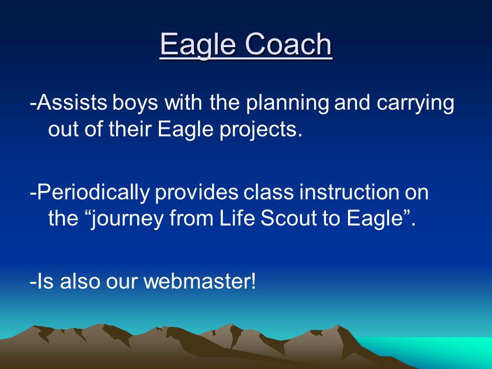Eagle Coach -Assists boys with the planning and carrying out of their Eagle projects.
