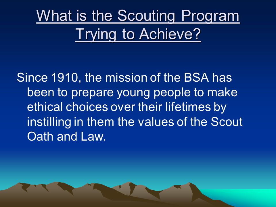 What is the Scouting Program Trying to Achieve.