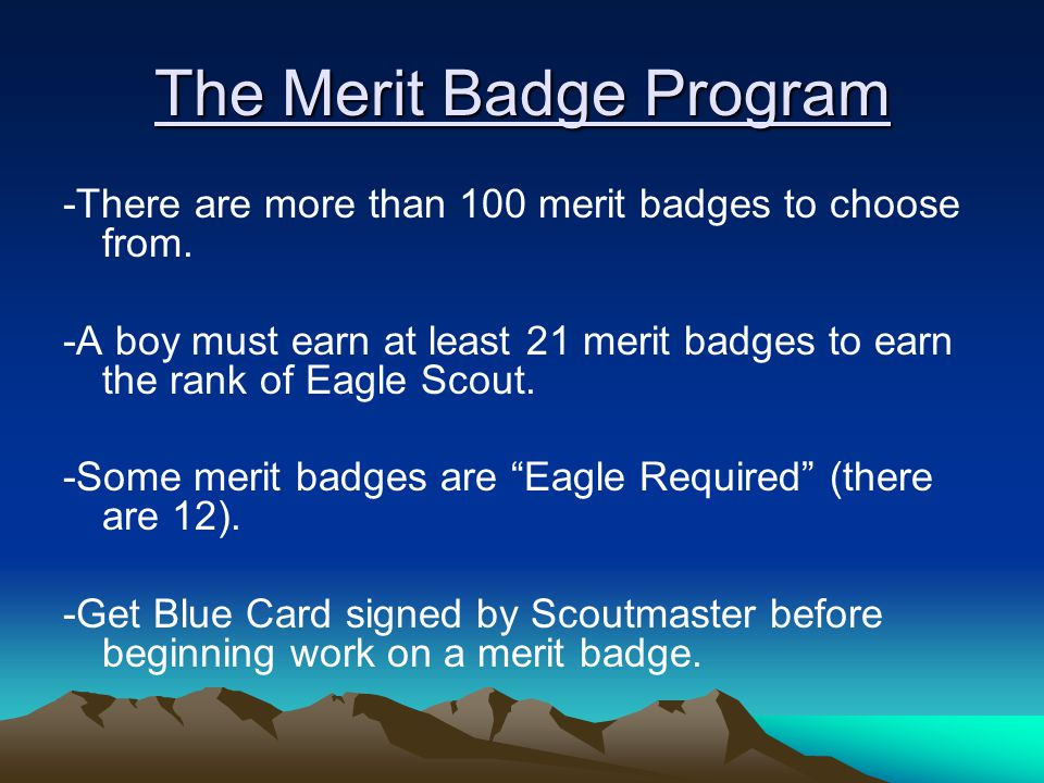 The Merit Badge Program -There are more than 100 merit badges to choose from.