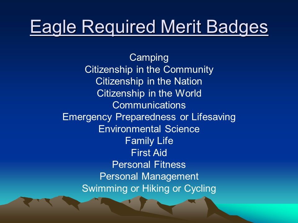 Eagle Required Merit Badges Camping Citizenship in the Community Citizenship in the Nation Citizenship in the World Communications Emergency Preparedness or Lifesaving Environmental Science Family Life First Aid Personal Fitness Personal Management Swimming or Hiking or Cycling