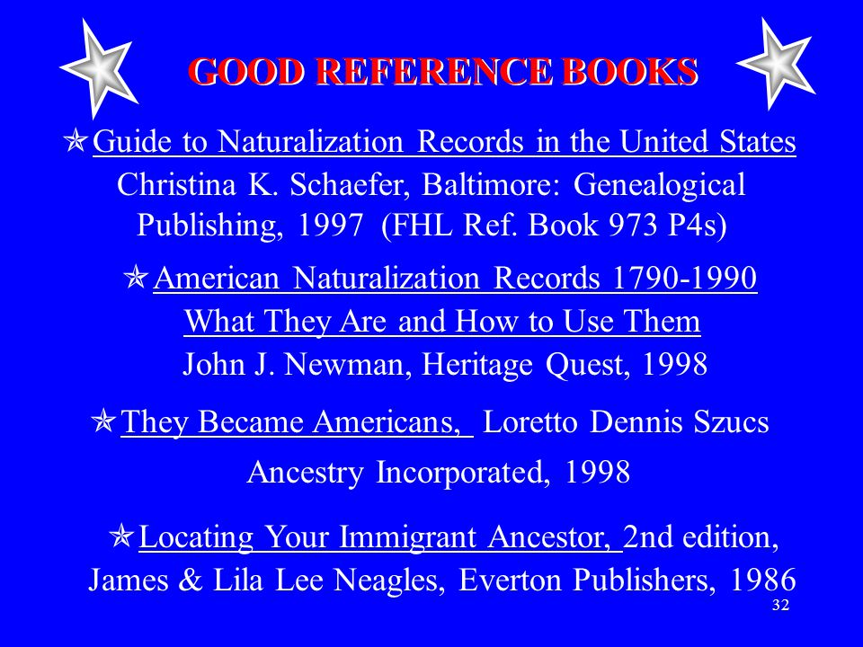 32 GOOD REFERENCE BOOKS  Guide to Naturalization Records in the United States Christina K.