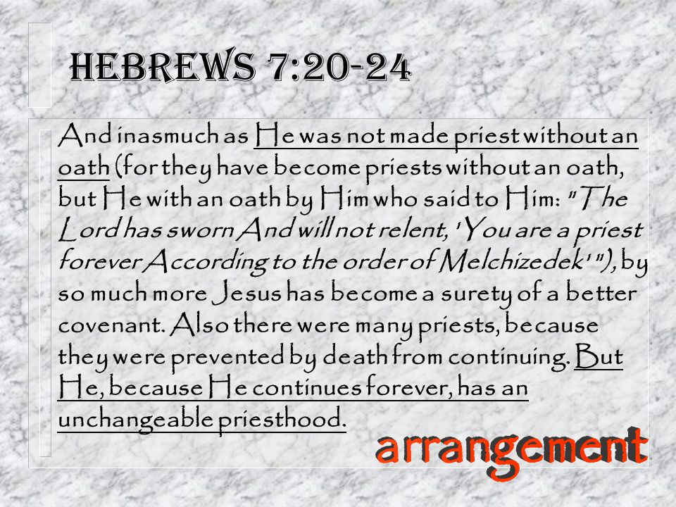 Hebrews 7:20-24 And inasmuch as He was not made priest without an oath (for they have become priests without an oath, but He with an oath by Him who said to Him: The Lord has sworn And will not relent, You are a priest forever According to the order of Melchizedek ), by so much more Jesus has become a surety of a better covenant.