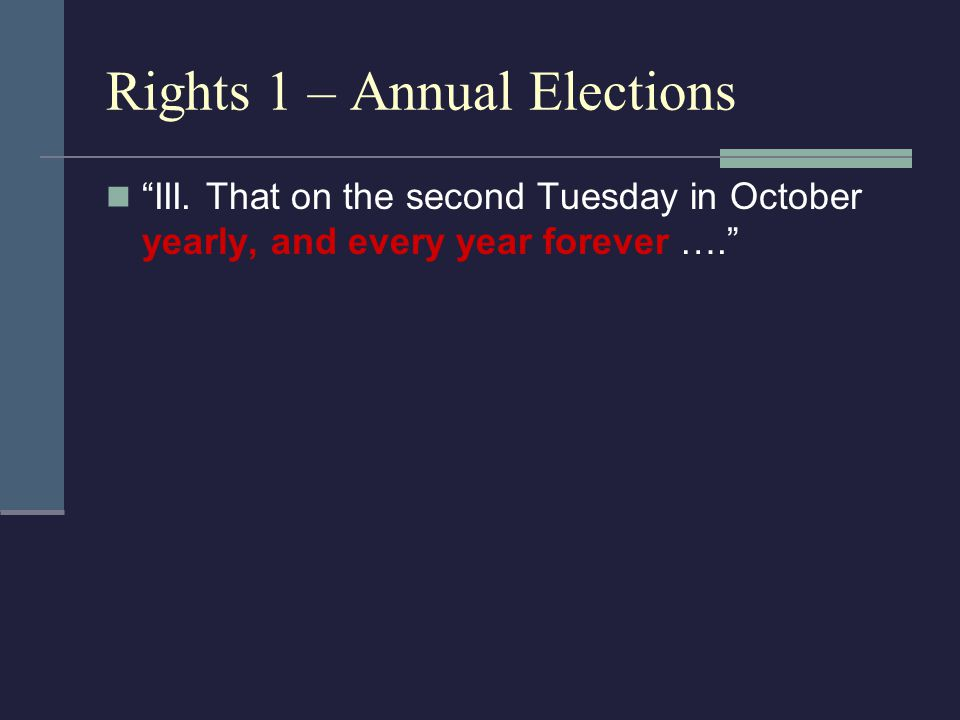 "Rights 1 – Annual Elections ""III. That on the second Tuesday in October yearly, and every year forever …."""