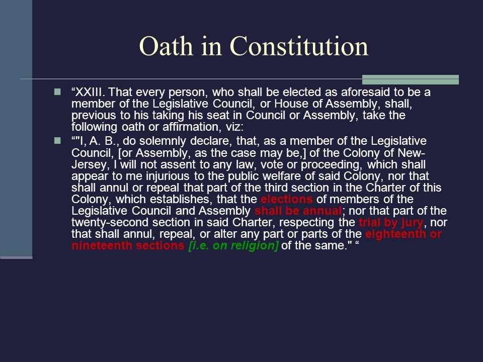 Oath in Constitution XXIII.