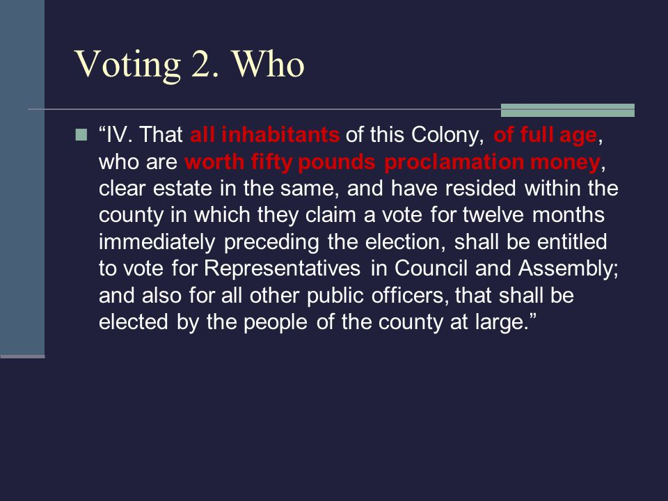 "Voting 2. Who ""IV. That all inhabitants of this Colony, of full age, who are worth fifty pounds proclamation money, clear estate in the same, and have"