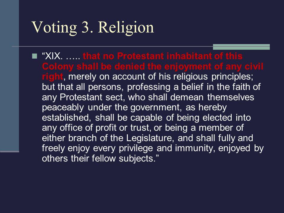 Voting 3. Religion XIX. …..