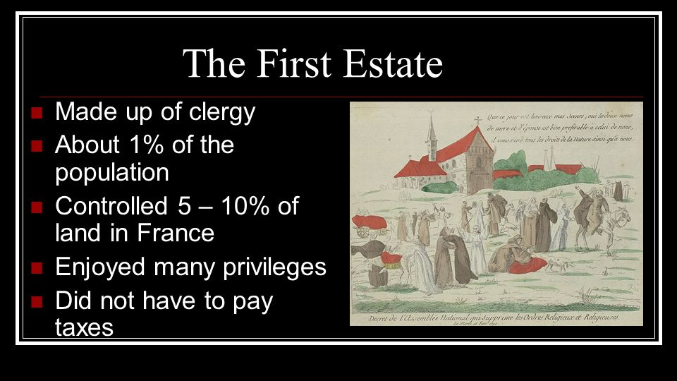 The First Estate Made up of clergy About 1% of the population Controlled 5 – 10% of land in France Enjoyed many privileges Did not have to pay taxes
