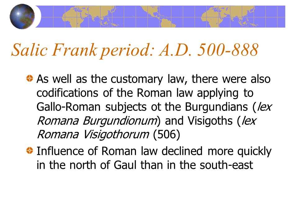 Collapse of the Salic Frank empire: 849-888 Further splits of the Empire Incompetent Kings (Charles the Fat, Louis the Simple) Magyar & Viking invasions