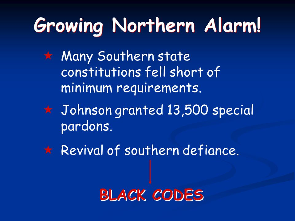 Growing Northern Alarm.  Many Southern state constitutions fell short of minimum requirements.
