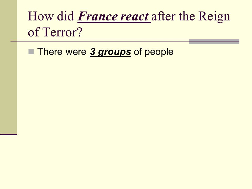 How did France react after the Reign of Terror? There were 3 groups of people