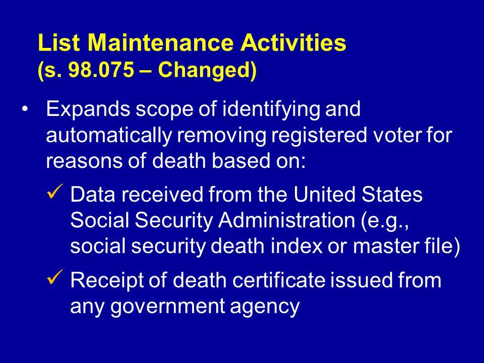 List Maintenance Activities (s.