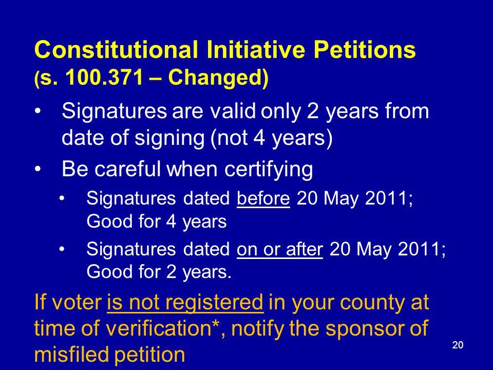 Constitutional Initiative Petitions ( s.