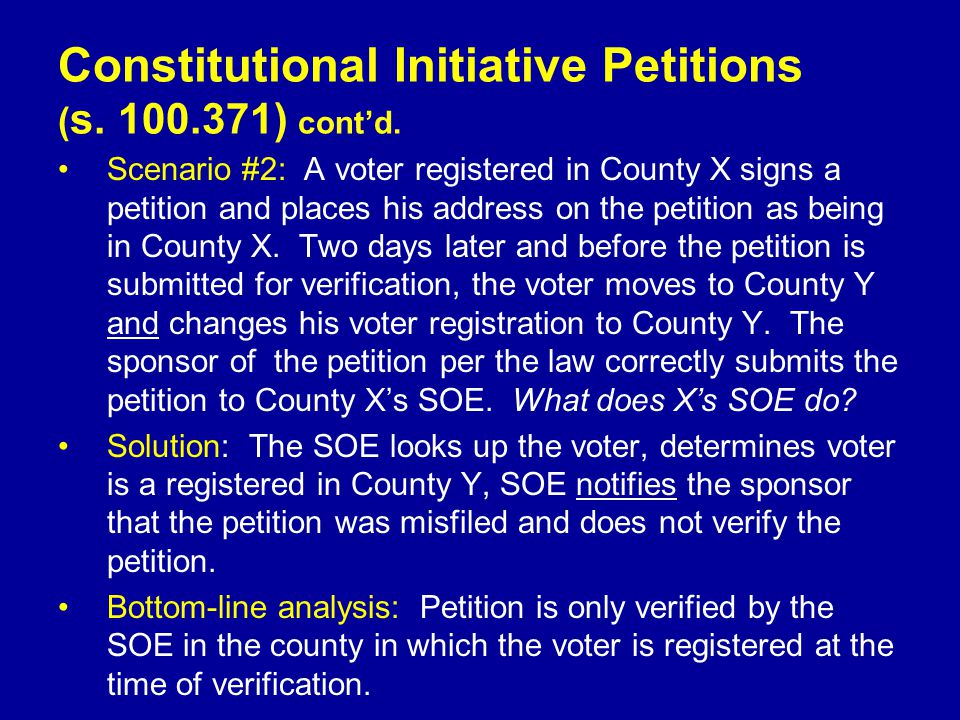 Scenario #2: A voter registered in County X signs a petition and places his address on the petition as being in County X.