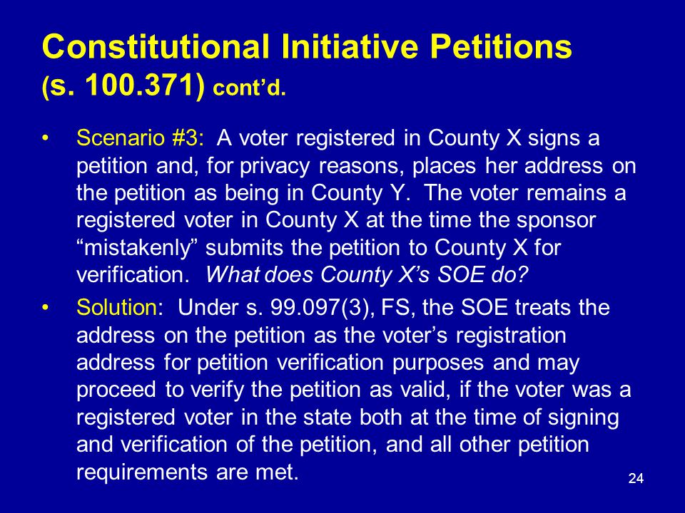 Scenario #3: A voter registered in County X signs a petition and, for privacy reasons, places her address on the petition as being in County Y.