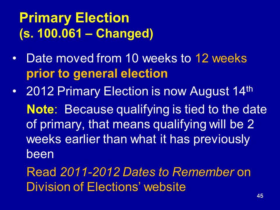 Primary Election (s.
