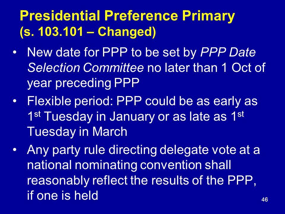 Presidential Preference Primary (s.