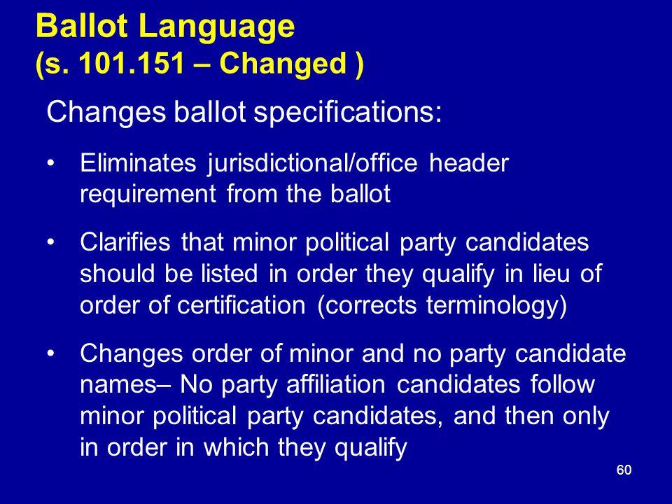 Ballot Language (s.