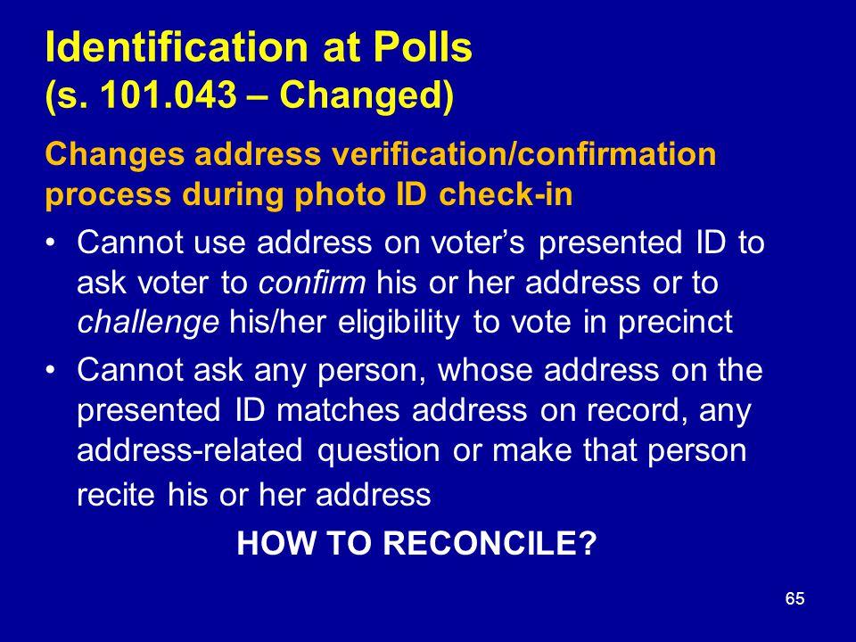 Identification at Polls (s.
