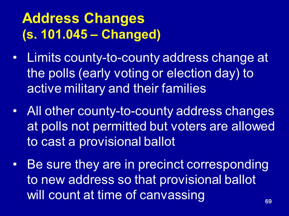 Address Changes (s.