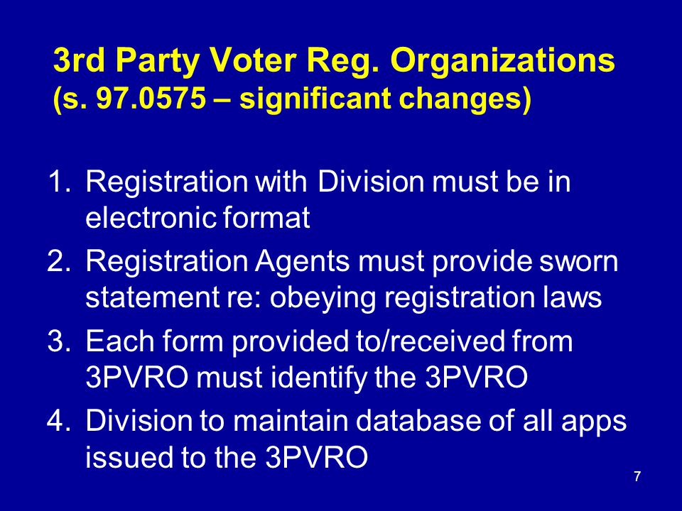 3rd Party Voter Reg.Organizations (s.