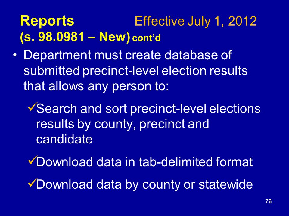 Reports Effective July 1, 2012 (s.