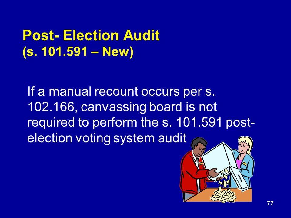 Post- Election Audit (s. 101.591 – New) If a manual recount occurs per s.
