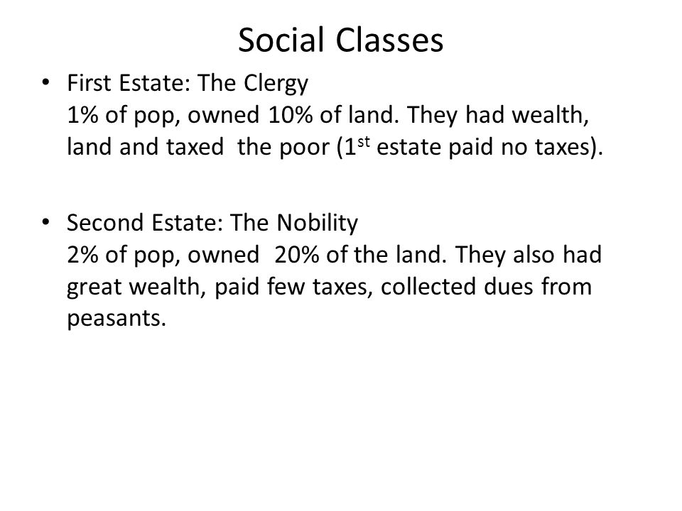 Social Classes First Estate: The Clergy 1% of pop, owned 10% of land.