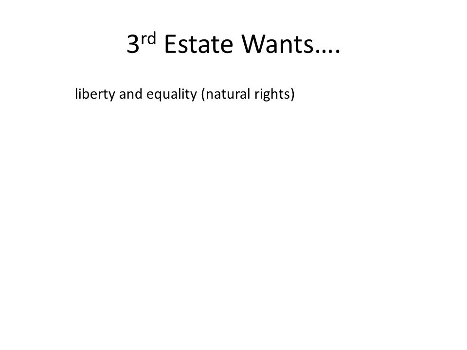 3 rd Estate Wants…. liberty and equality (natural rights)