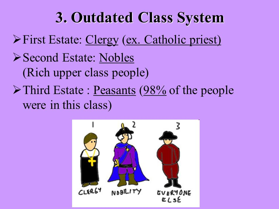 3. Outdated Class System  First Estate: Clergy (ex.