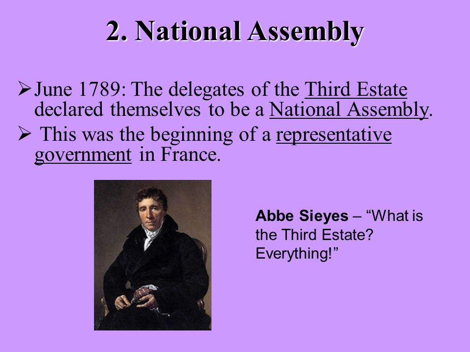 2. National Assembly  June 1789: The delegates of the Third Estate declared themselves to be a National Assembly.  This was the beginning of a repre