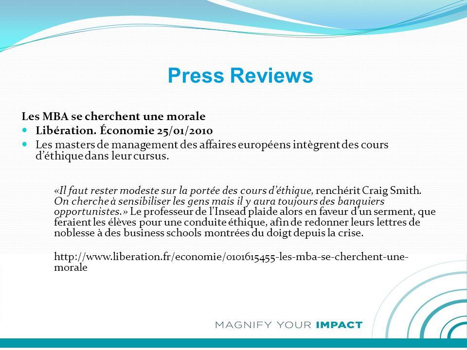 Press Reviews Les MBA se cherchent une morale Libération.
