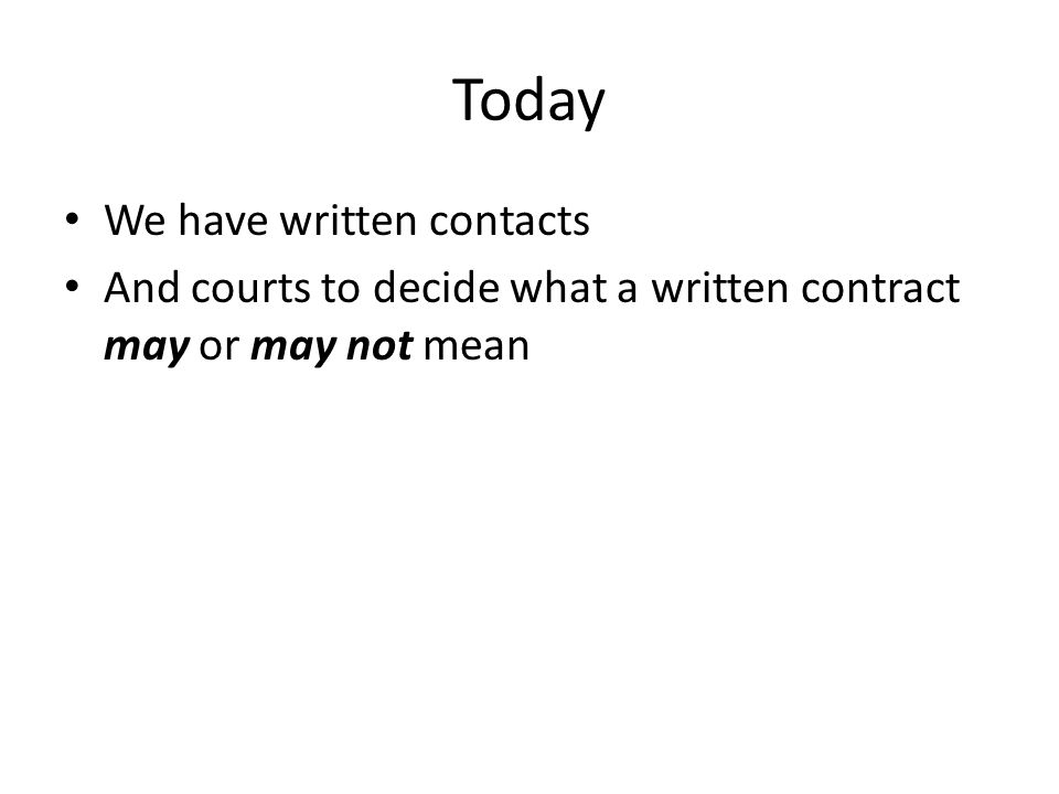 Today We have written contacts And courts to decide what a written contract may or may not mean