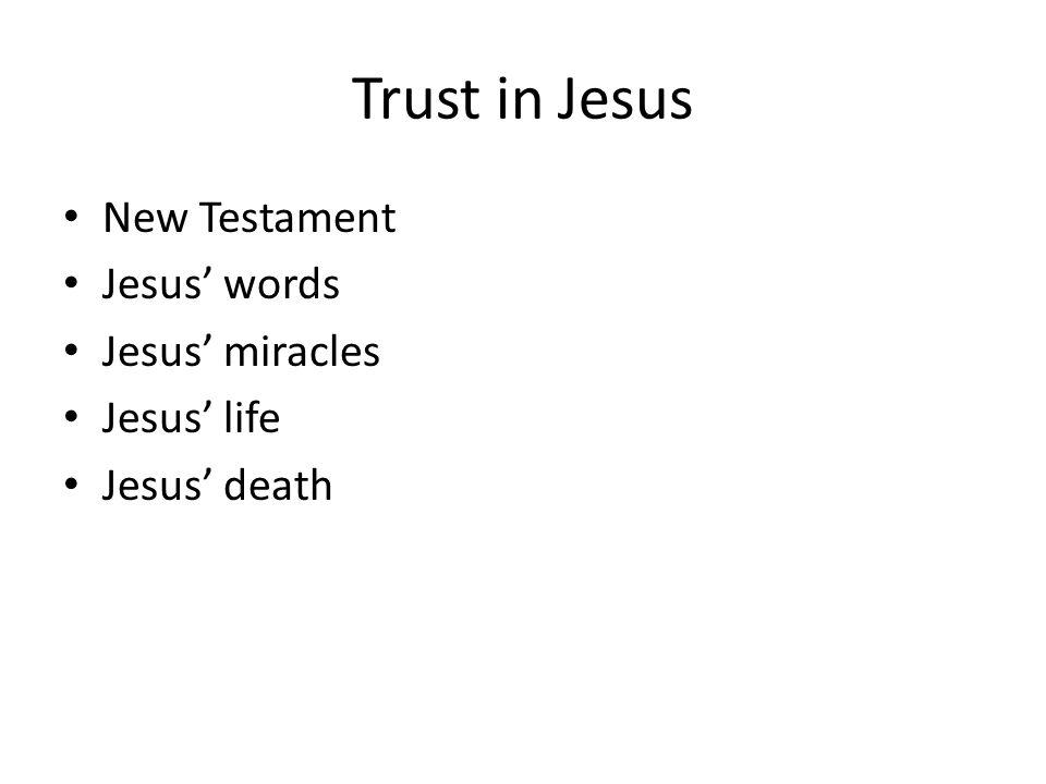 Trust in Jesus New Testament Jesus' words Jesus' miracles Jesus' life Jesus' death