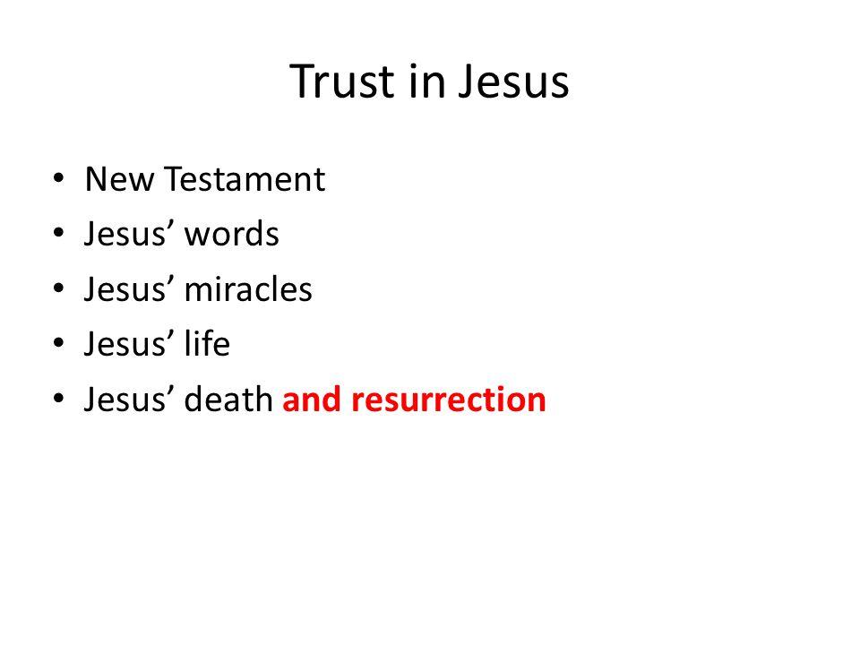 Trust in Jesus New Testament Jesus' words Jesus' miracles Jesus' life Jesus' death and resurrection