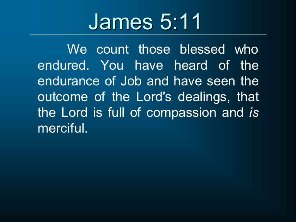 James 5:11 We count those blessed who endured.