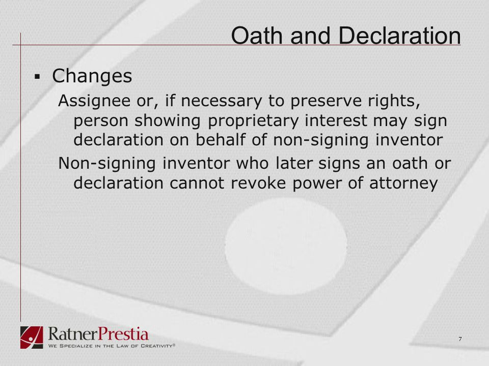 Oath and Declaration  Correction of Inventorship  No Deceptive Intent statement no longer required  National Phase Application Same procedures may be used as under rule 48(a) to correct inventorship  Foreign Priority No longer required on Declaration Now required on Application Data Sheet 8