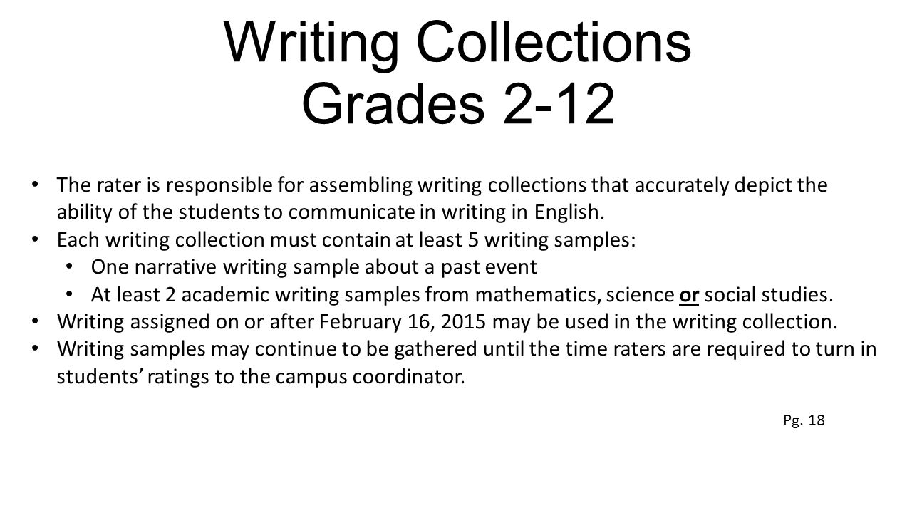 Writing Collections Grades 2-12 The rater is responsible for assembling writing collections that accurately depict the ability of the students to communicate in writing in English.