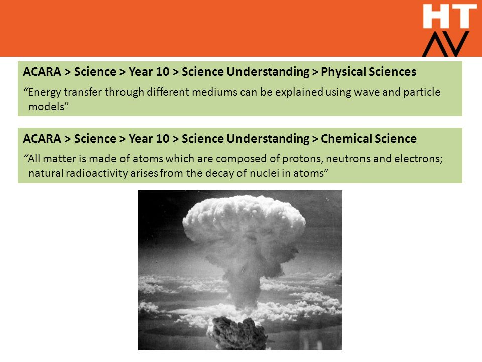 """ACARA > Science > Year 10 > Science Understanding > Physical Sciences """"Energy transfer through different mediums can be explained using wave and parti"""