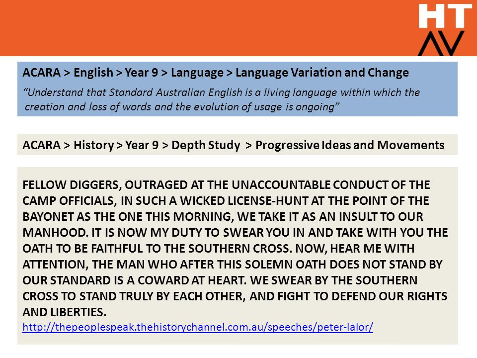 """ACARA > English > Year 9 > Language > Language Variation and Change """"Understand that Standard Australian English is a living language within which the"""