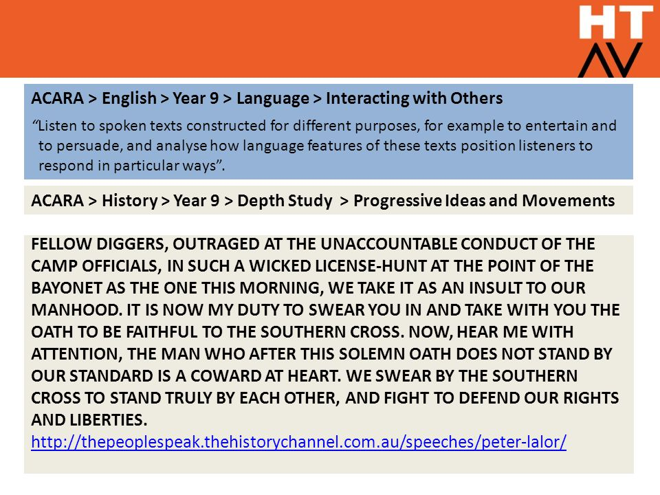 """ACARA > English > Year 9 > Language > Interacting with Others """"Listen to spoken texts constructed for different purposes, for example to entertain and"""