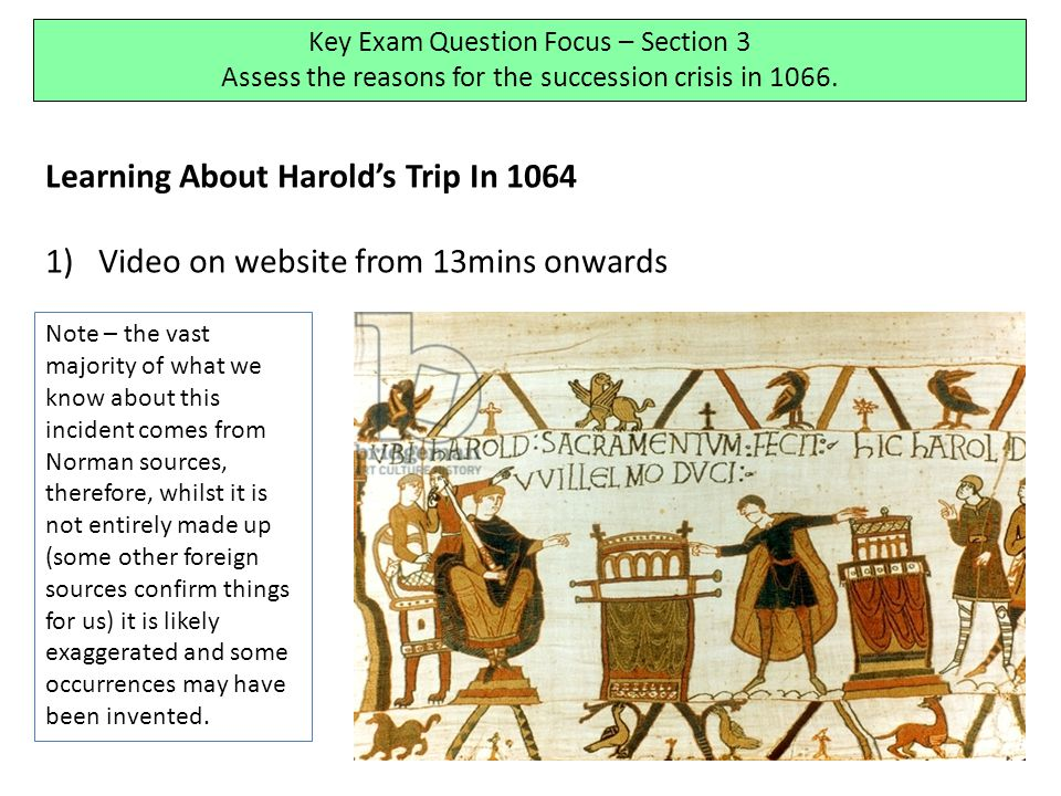 Learning About Harold's Trip In 1064 1)Video on website from 13mins onwards Key Exam Question Focus – Section 3 Assess the reasons for the succession