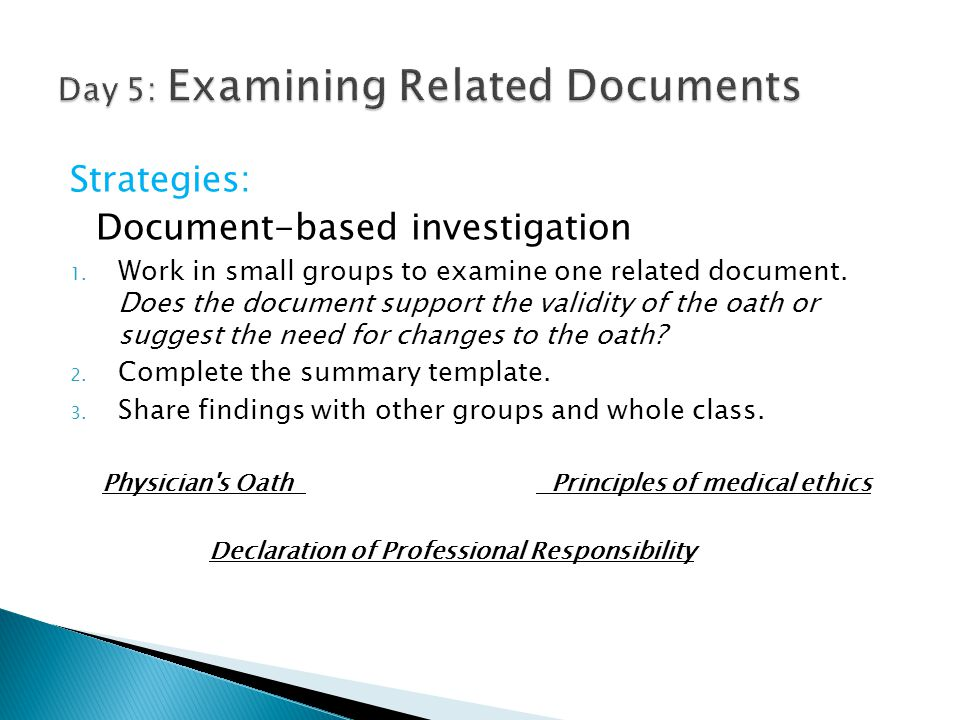 Strategies: Document-based investigation 1. Work in small groups to examine one related document. Does the document support the validity of the oath o