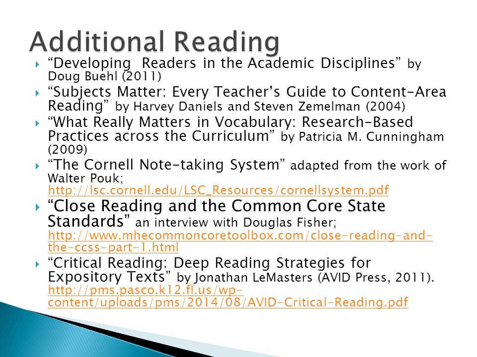 """ """"Developing Readers in the Academic Disciplines"""" by Doug Buehl (2011)  """"Subjects Matter: Every Teacher's Guide to Content-Area Reading"""" by Harvey D"""