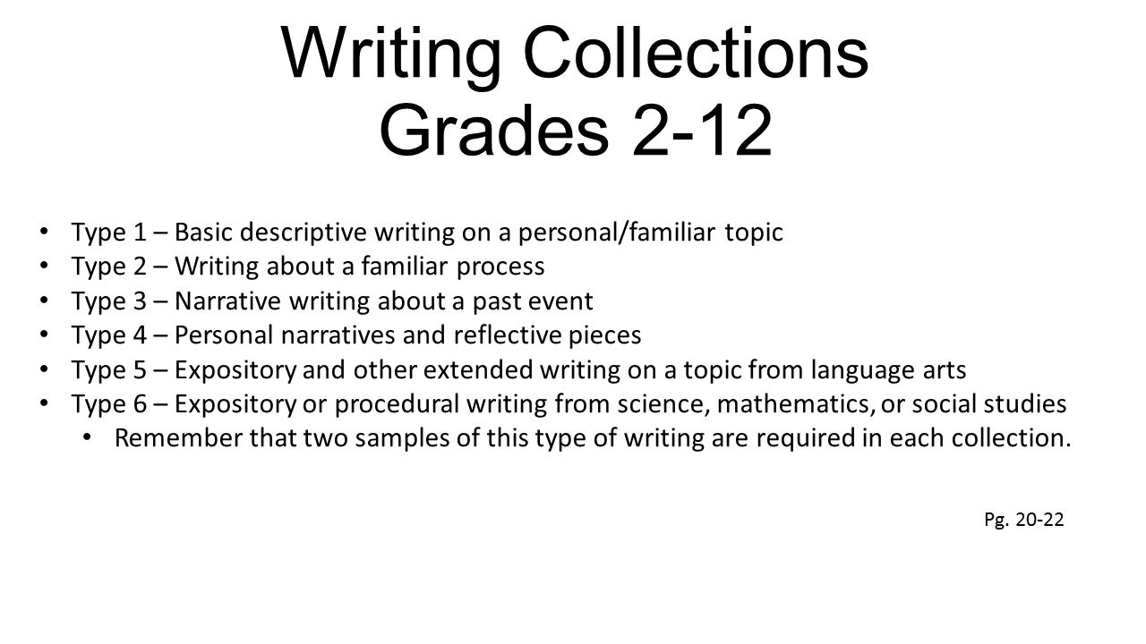 Writing Collections Grades 2-12 Type 1 – Basic descriptive writing on a personal/familiar topic Type 2 – Writing about a familiar process Type 3 – Nar