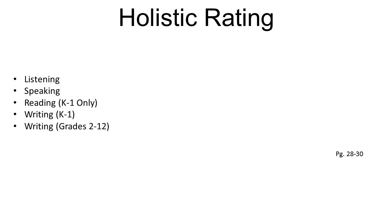 Holistic Rating Listening Speaking Reading (K-1 Only) Writing (K-1) Writing (Grades 2-12) Pg. 28-30